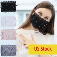 2021 DHL Masque de broderie dentelle nouveau visage adulte confortable Lavable bouche visage Cover Girl Fashion Party Noir 5 couleurs Masques Masque FY0057