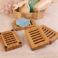 Tragbare Badezimmer Seifenschale Bamboo Naturseifenschalen-Behälter-Halter Lagerung Seife Rack-Platte Badezimmer-Zubehör T9I00764