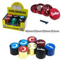 쿠키 그라인더 아연 합금 4 층 40mm 50mm 55mm 63mm 직경 그라인더 담배 분쇄기 금속 허브 그라인더 흡연 액세서리 GR300