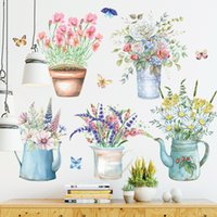 Creative Flower Potted Wall Stickers for Living room Bedroom Baseboard Removable Wall Decals Art Home Decor Plant Sticker 201106