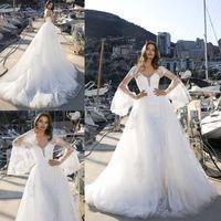 Modest Brautkleider mit Wrap und abnehmbarer Zug-Schatz-Spitze applique Backless Brautkleider nach Maß Vestidos De Novia