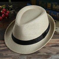 Stachelige Krempe Hüte Moderne Männer und Frauen Sommer Stroh Fedora Cap Beach Sunhat mit für die Wahl1