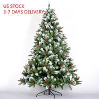 7.5ft الولايات المتحدة STOCK سنو متجمع شجرة عيد الميلاد الاصطناعية متمحور شجرة الصنوبر مع الأبيض واقعية نصائح مظلمة زينة عيد الميلاد W49819948