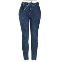 2020 Grau Slim Fit Fringe-Gurt-Taillen-Jeans-Frauen lösen und beiläufige große Taschen Bleistift-Jeans-dünne und Casuals New