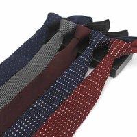 Мода Navy Тонкий галстук шею Свадебные вязаные галстуки для мужчин Узкие галстуки Man Gravatá Полиэстер Ограниченный Вязаная Brand New 6cm галстуков