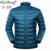 Newbang pena jaqueta homem ultra iluminar jaqueta para baixo jaqueta casaco de inverno pato para baixo windbreaker stand collar parka com saco de transporte 201103