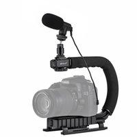 L / C Forma portátil de DV Suporte estabilizador de vídeo Microfone Kit Fria sapatos cabeça do tripé para câmeras SLR e Home DV Camera