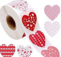 Sevgililer günü mühür etiket düğün parti malzemeleri 8 desenler hediye süslemeleri 1 inç kırmızı aşk kalp şeklinde yapışkanlı etiket Yeni varış 4yh j2
