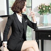 İki Parça Elbise Kadın Etek Takım Elbise Ofis Üniformaları Kadın Blazer Set İş Bayan İş Takım 2 Ceket Bahar Sonbahar