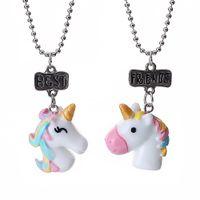 Yeni Güzel Çocuk Unicorn Reçine kolye kolye Kaplama Zincir iyi arkadaşı Takı Sevimli Hediye Ücretsiz Kargo