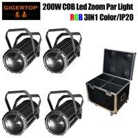 4in1 Flightcase Pack 200W RGB 3in1 Zoom LED PAR Light Indoor LED PAR-Dosen Bühnenbeleuchtung Aluminiumgehäuse Langkanone Form DMX-Steuerung