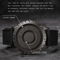 Eutour Original Brand New Ponteiro Magnético Conceito Livre Quartzo Relógio Cego Touch Homens Relógio Moda Strap LJ201201