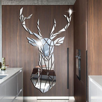 3D зеркало наклейки стены акриловые наклейки большой DIY олень декоративные зеркальные стены наклейки для детской комнаты гостиная домашняя декор
