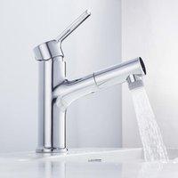 2 Tipos de pulverização Torneira de bacia com mão de puxar banho de banho piaeira mixer torneira de água quente fria pia tapetes torneira de banheiro