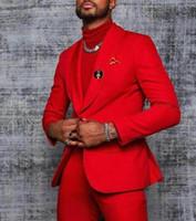 Rosso Abiti da uomo da sposa Slim fit Bridegroom smootosi per gli uomini Due pezzi Groomsmen Suit Blazer Formale Business Business Giacche Business Pantaloni