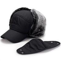 Winter Fur Теплый ветрозащитный Hat Мужчины Женщины Траппер шапки Бомбардировщик искусственного меха уха лоскут Cap Black Ski Trooper Траппер Caps IIA874