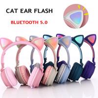 かわいい猫の耳のヘッドホンワイヤレスBluetooth 5.0ヘッドバンドゲーム