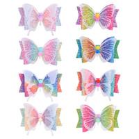 3.5 cala brokat łuk motyl włosy klip do włosów dla dziewczynek Gradient Gradient Rainbow Kolor Pinów Włosów Akcesoria Naklejki Party Plaża 406 K2