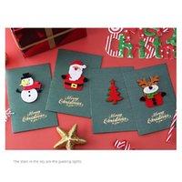 1pcs Pearl Paper Christmas Greeting Card Handmade Stereo Santa Snowman Elk Cute Greeting Card Creative Stereo Christmas