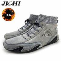 Jichi Lederschuhe Männer Fashion Design Herrenschuhe Luxus plus Samt warm halten Knöchel Winterstiefel für Männer Big Size 48 201026