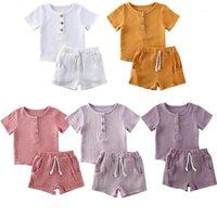 2020 baby sommer kleidung kleinkind kinder baby jungen baumwolle leinen lässig kleidung t-shirt topspants kurze hülse outfit 2 stücke set1