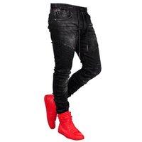 Masculinos quebrados buraco bordado lápis jeans magro homens calças casuais n43 denim calças clássicas cowboys jovem homem jogging calça
