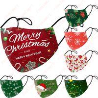 Merry Christmas Face Mask Мода Творчество Мультики Сант Elk печать Маска Пылезащитно многоразовая Регулируемая маска моющегося Xmas Mouth