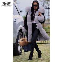 Natürel Yaka High Street Dış Giyim Casual Siyah Parkas kalın sıcak ile Tatyana Furclub Gerçek Kürk Kış Kadın Ceket