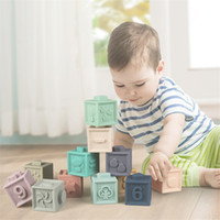 All'ingrosso bambino giocattoli morbidi per il silicone sensoriale silicone edificio educativo blocchi 3d appeso palla palla bambini in gomma teether spremere i giocattoli da bagno per i più piccoli