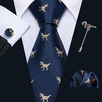 목 넥타이 옷깃 핀 골드 공룡 남성 넥타이 손수건 커프스 단추 세트 8.5cm neckpin 비즈니스 실크 남자 barry.wang 디자인