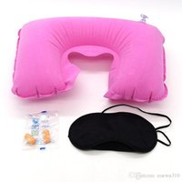 Wholesale Car Soft Pillow 3 in 1 Travel Set Inflatable U-Shaped Neck Pillow Air Cushion + Sleeping Eye Mask Eyeshade + Earplugs DBC DH0660