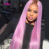 Frente del cordón colorida al por mayor de la peluca marrón púrpura cian color transparente de encaje pelucas brasileño peluca con el bebé pelucas de pelo