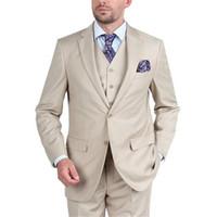 Nach Maß Bräutigam Herren Anzug Smoking Beige Groomsmen Kerbe Revers Hochzeit Männer Anzüge für die Hochzeit (Jacket + Pants + Tie + Vest)