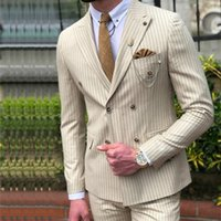 New Arrival Pinstripe Slim Fit Double Breasted Mens Wedding Suit Peaked Lapel Two Pieces Groomsmen Tuxedos