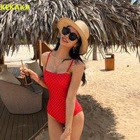 Kırmızı Dot Bandeau One Piece Mayo Kadınlar 2019 Kore Tarzı Chic Push Up Yastıklı Monokini Mayo Kadınlar Banyo Takım Elbise Beachwear1