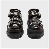 QWEDF 2019 летней женщины сандалии Платформа Женская обувь Ins Горячие бисквит Старый Обувь Заклепки Баотоу Trekking обувь Квартиры G3-100