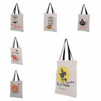 6 Types Sacs fourre-tout Halloween avec poignée noire Pumineuse Noël Sacs Shopping Sacs Festival Cadeaux Sac Halloween Sac Toile