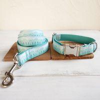 Collier de chien personnalisé Gravé ID chiot Tag Collier Leash Set réglable Outdoor Fashion Imprimer Pet Leash GREEN MOUNTAIN