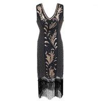 Günlük Elbiseler 2021 Renkler Kadınlar 1920s Flapper Elbise Gatsby Vintage Artı Boyutu Kükreyen 20 S Kostüm Parti için Fringed Prom1