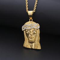 Мужские Хип-хоп Ожерелье Ювелирные Изделия Мода Нержавеющая Сталь Иисус Кусочек Подвеска Высокое Качество Золотые Ожерелья