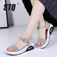 Платье обувь STQ 2021 летние женщины платформы сандалии на платформе дамы клиновые пляжные флип флопы слингический каблук GF5261