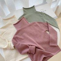 WLG Automne Pulls pour Garçons Filles Enfants Solide Terrlet Solide Pull à manches longues Bébé Beige Green Rose Tous Sweaters de match Y200901