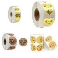 Danke Geschenk-Aufkleber Rund Herz-Form-Thanksgiving-Hand Made Backe Return Geschenke Sticky Papier Kraft Glossy Paper Aufkleber 3 8JR L2