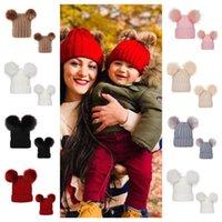 Pom Pom Balls Crochet Gorros Ribbed Knit Womens Hat Inverno 0-3 Anos Crianças da criança do bebê Crânio Crianças Caps Tuque Meninas Headwear E101904