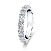 Anziw 925 Sterling Silver 3.0mm Rodada Corte toda a eternidade para mulheres simuladas noivado de diamante casamento banda anel jóias 0126