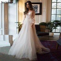 Vestido de novia de manga larga Sevintage Beach cucharada sin respaldo vestidos de boda de la princesa del vestido de novia de Boho de encaje más el tamaño por encargo Q1112