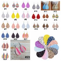 PU cuir Glitter Boucles d'oreilles Mode Sparkly Sequin Boucle d'oreille en forme de larme Boucle d'oreille pour les femmes Cadeaux d'anniversaire 24 couleur RRA3685