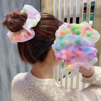 Büyük esneklik saç bandı Nefis Saç Aksesuarları karışımı tasarımları ile Moda Popüler Saç Aksesuar Gökkuşağı Topu Organzeqhairband
