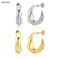 ANDYWEN 925 Sterling Silver European 17mm Circle Hoops Loops Gold Irregular Geometric 2020 Rock Punk Jewelry Fashion Wedding