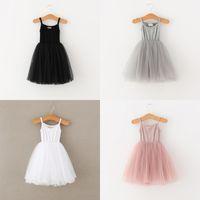 Dudu Kalite Ins 4 Renkler Bebek Kız Dantel Tül Sling Elbise Çocuk Askı Örgü Tutu Prenses Elbiseler Butik Çocuk Giyim 553 K2